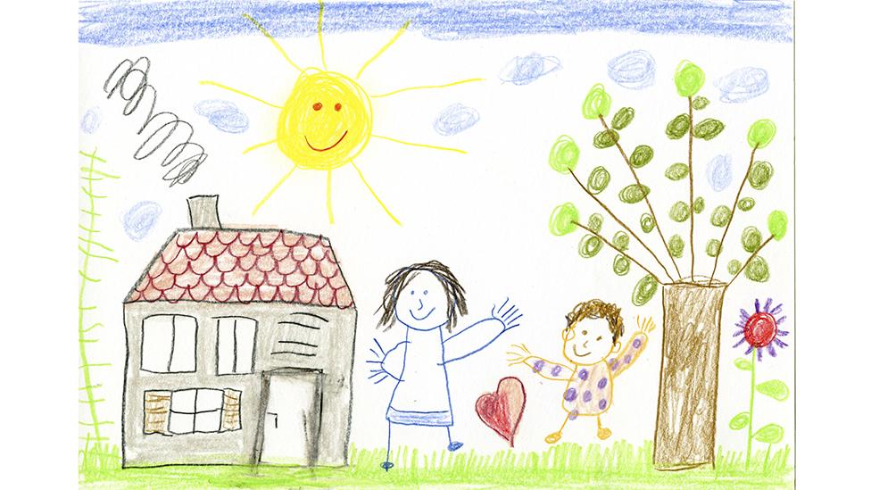 Una ilustración infantil que muestra un gran Sol amarillo sobre una casa, unas personas y un árbol