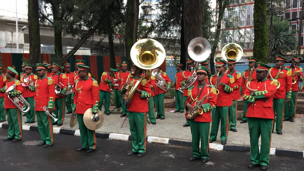 Band outside the Eritrean embassy