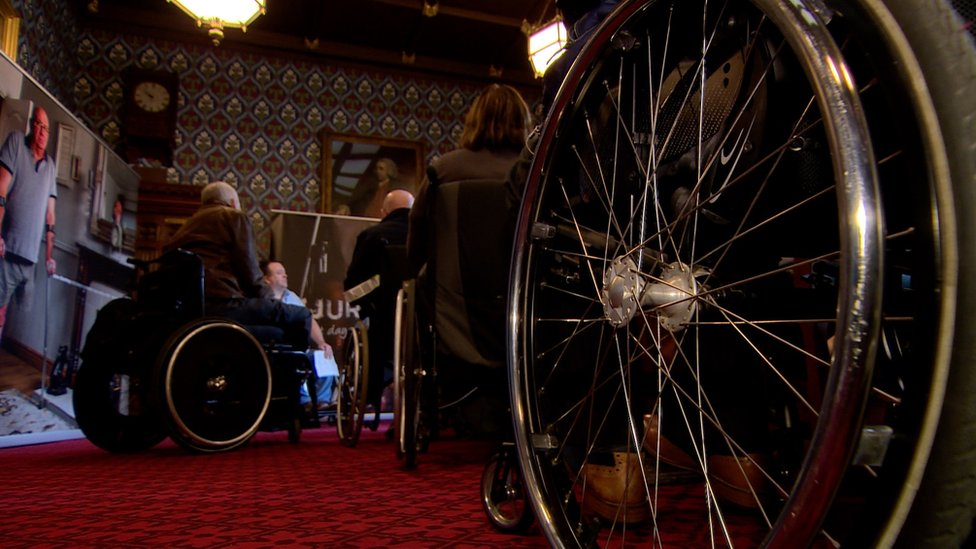 Victims of the Troubles in wheelchairs