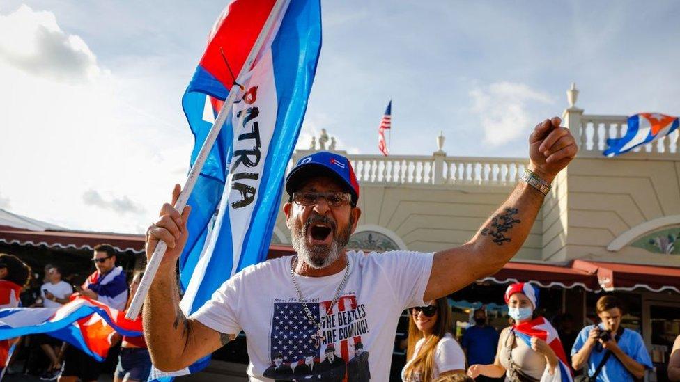 Manifestación en Estados Unidos a favor de la democracia en Cuba.