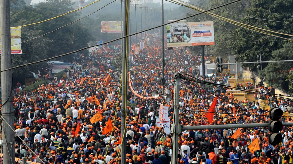 People gather in large numbers to attend a rally organised by Vishwa Hindu Parishad (VHP), in New Delhi, India, 09 December 2018