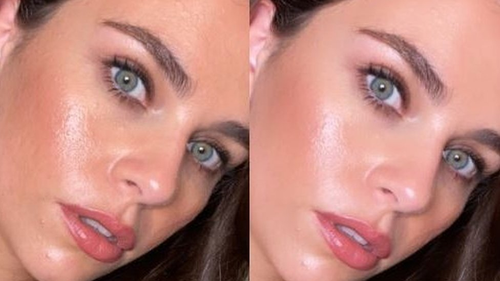 Sasha Pallari en dos fotos, una con filtro
