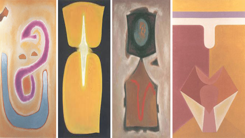 A composite image of four Benjamin Creme paintings