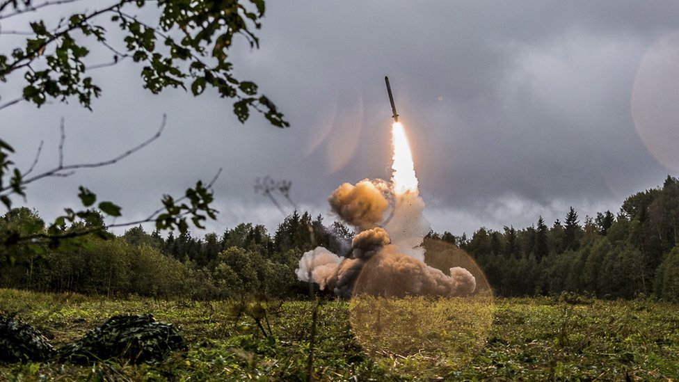 A Russian tactic missile Iskander -M launches from a green field site near St Petersburg