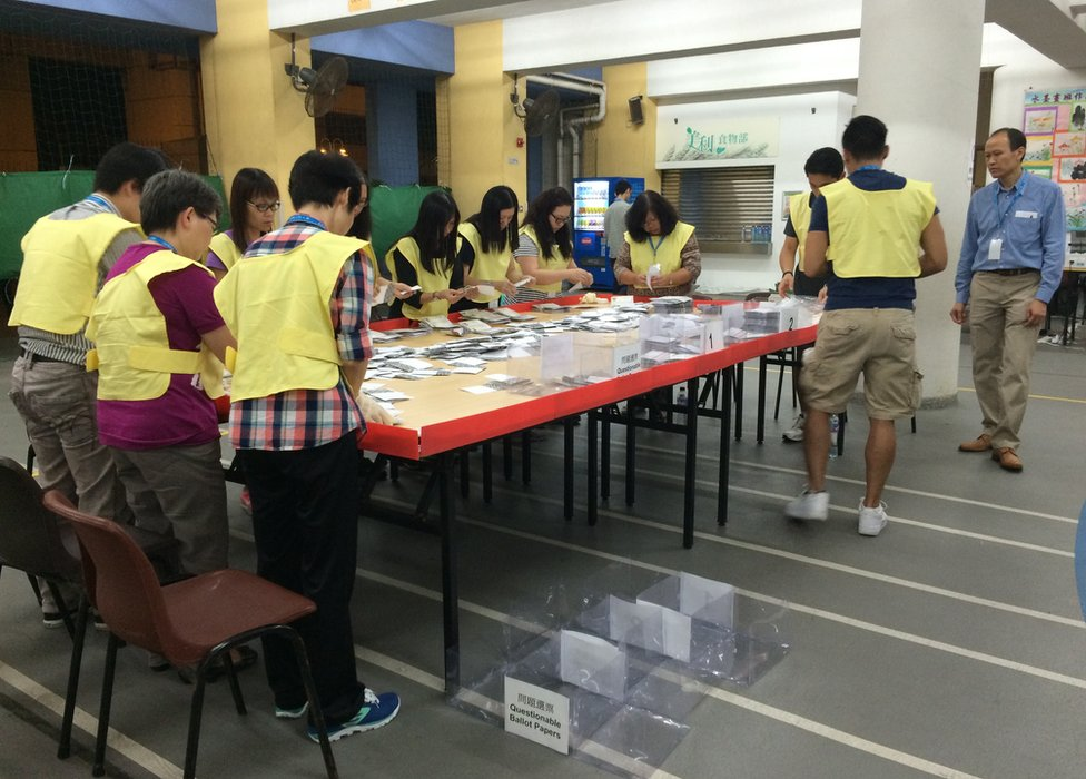 Picture of volunteers counting votes in Hong Kong on 22 November 2015