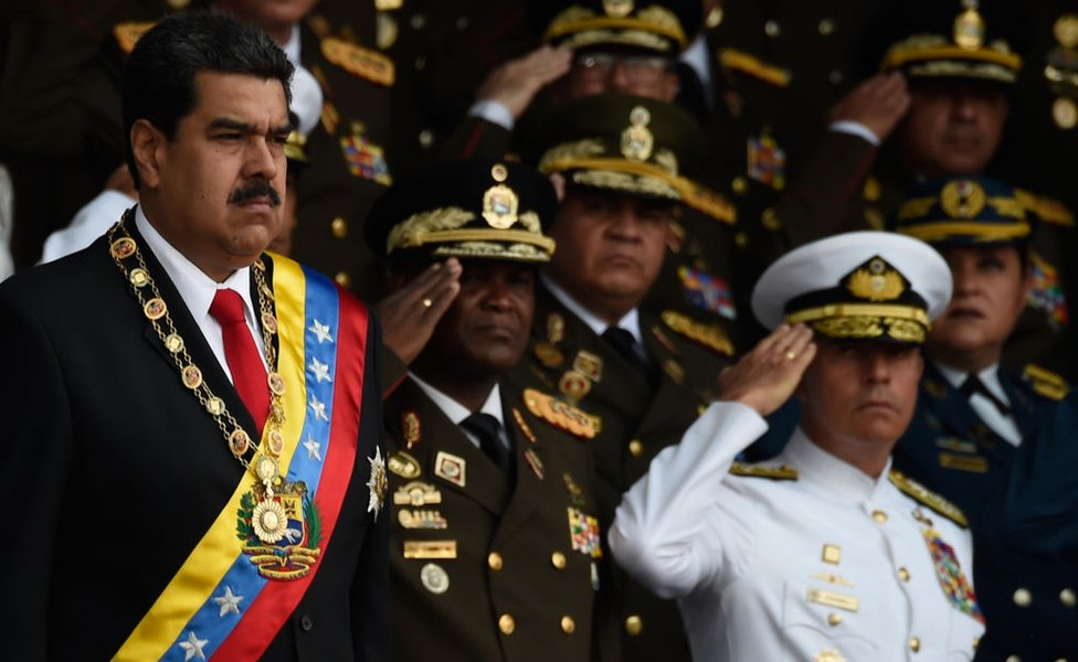 Maduro junto a la Guardia Nacional.
