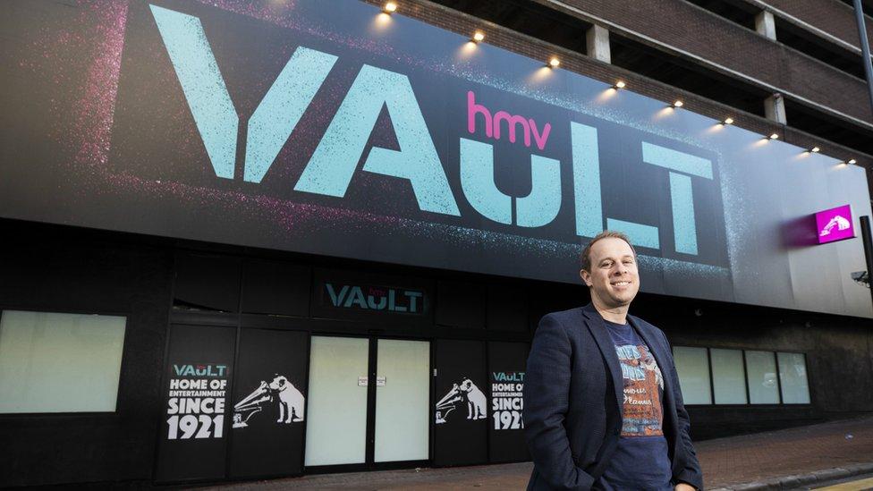 HMV's owner Doug Putman outside the new HMV Vault store in Birmingham