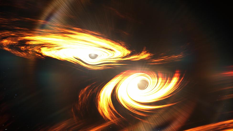 Interpretasi saat-saat terakhir sebelum penggabungan dua lubang hitam
