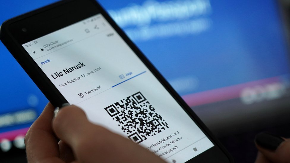 Estonia's immunity-passport mobile phone app showing co-founder Liis Narusk's name
