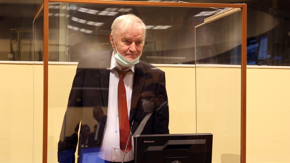 Former Bosnian Serb military leader Ratko Mladic arrives for his appeal hearing at the UN International Residual Mechanism for Criminal Tribunals in The Hague, Netherlands August 25, 2020