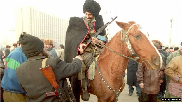 Chechen volunteers gather in the capital to protect it from Russian invasion