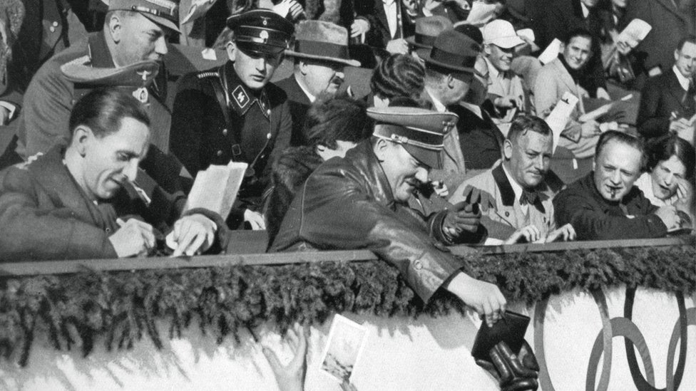 Adolf Hitler signs autographs, Winter Olympic Games, Garmisch-Partenkirchen, Germany, 1936