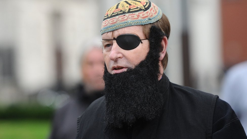 Mr Frazer dressed as Muslim cleric Abu Hamza for a 2013 court appearance