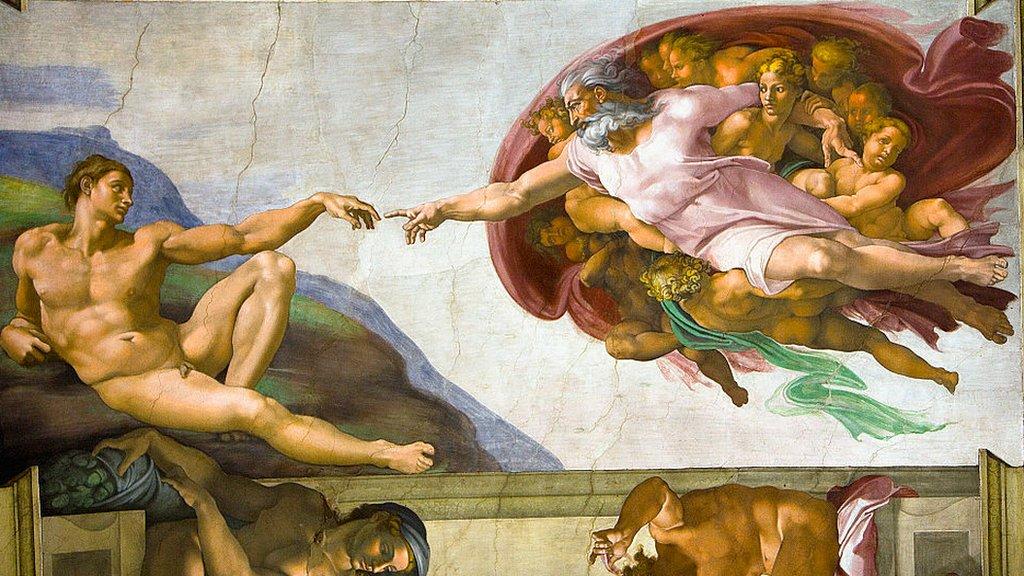 La creación de Adán, en el fresco de la Capilla Sixtina pintado por Miguel Ángel en 1511.