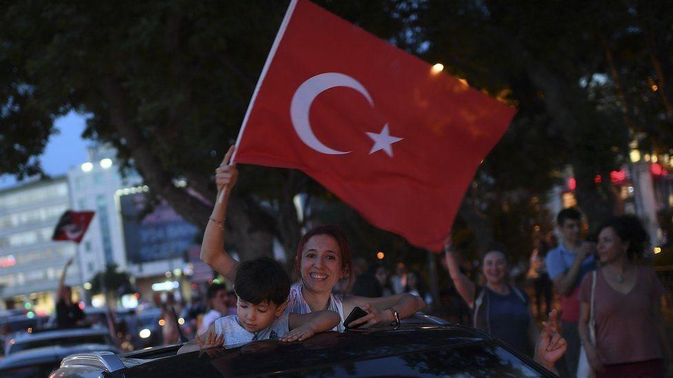 أنصار المعارضة يحتفلون بعد الإعلان عن النتائج.