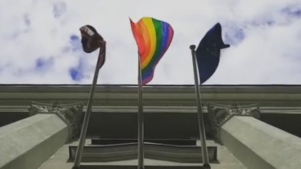 Belarus slams UK embassy over rainbow flag on day against homophobia