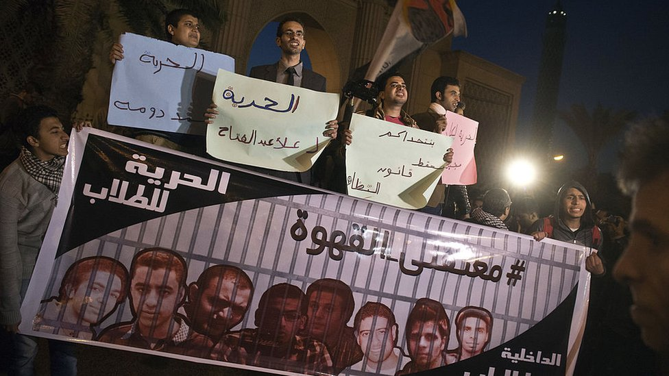 People protest against the detention of Egyptian youth activists in Cairo (23 December 2013)