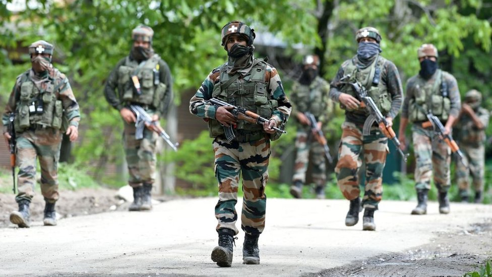 Indian army soldiers engaged in anti-militant operations south of Srinigar in Indian-administered Kashmir in May 2017
