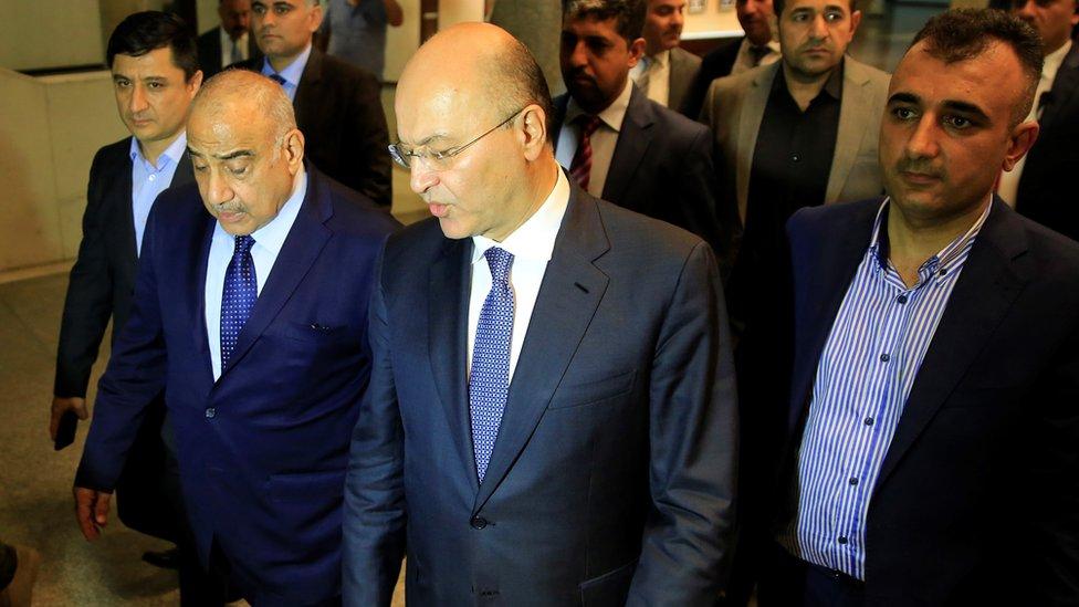 الرئيس العراقي برهام صالح ورئيس الوزراء عادل عبد المهدي