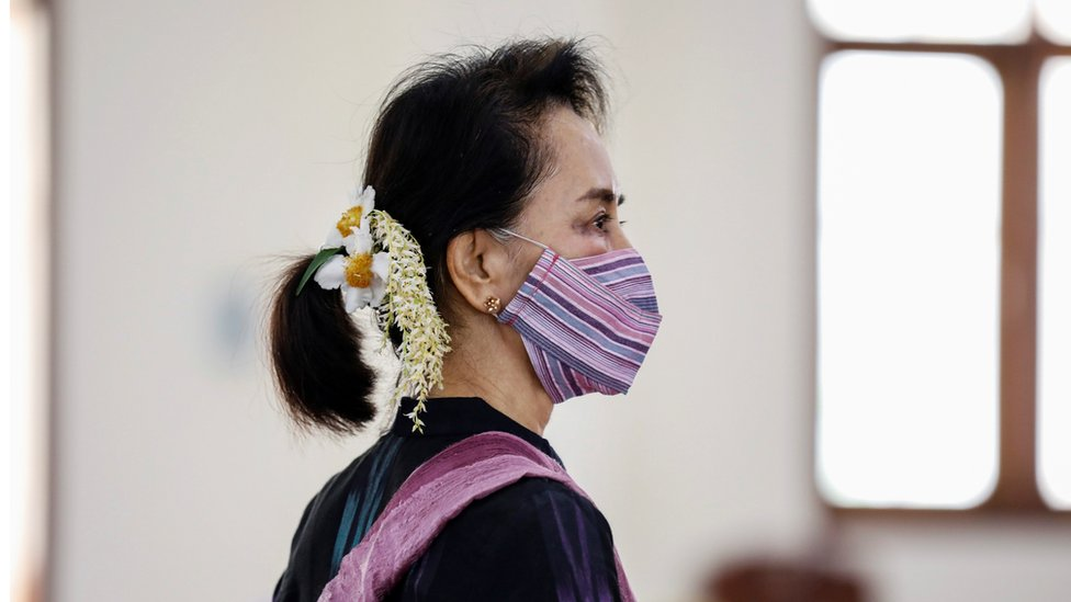 Aung San Suu Kyi, seen here at a coronavirus vaccination clinic in January, Naypyitaw, Myanmar