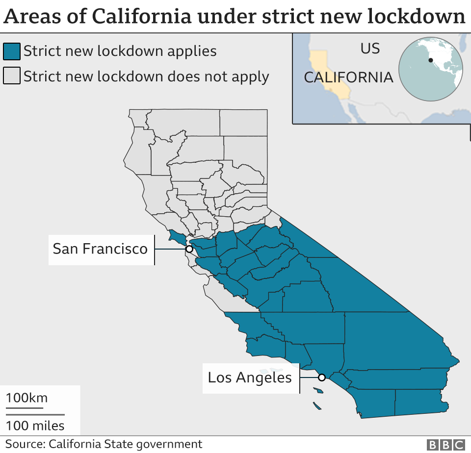Areas of California under lockdown restrictions