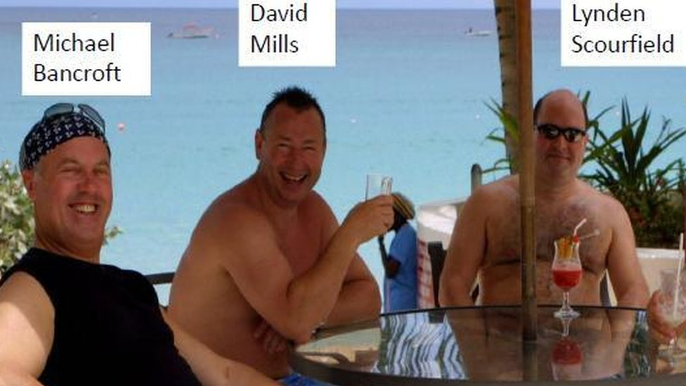 Michael Bancroft, David Mills and Lynden Scourfield on a beach holiday