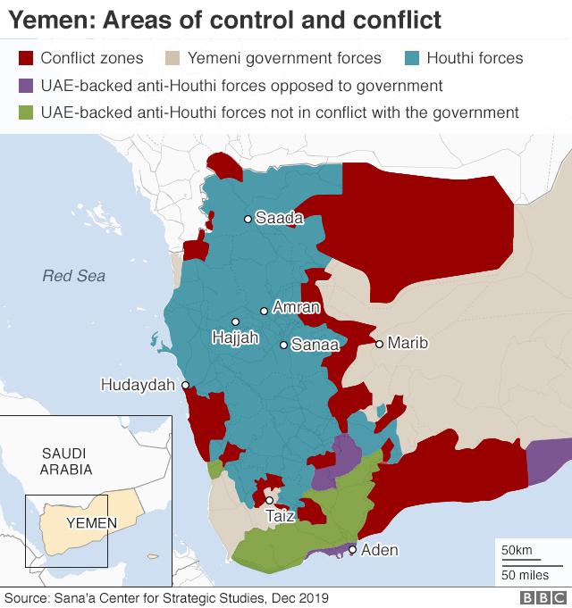 Peta di Yaman yang menunjukan area konflik perang pada Desember 2019.