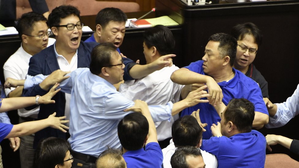Scuffles in the Taiwan parliament on July 14