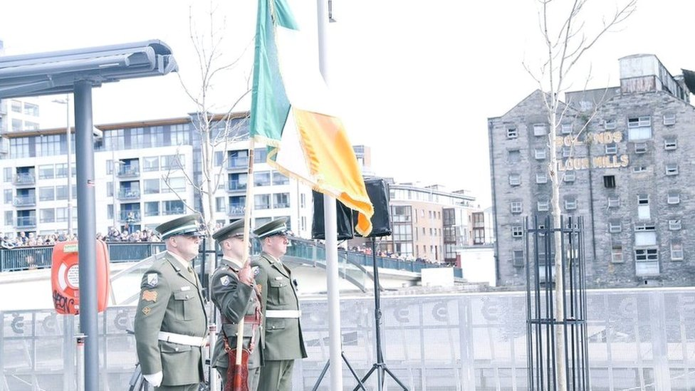 Members of the Irish Defence Forces took part in a wreath-laying ceremony at Boland's Mills in Dublin