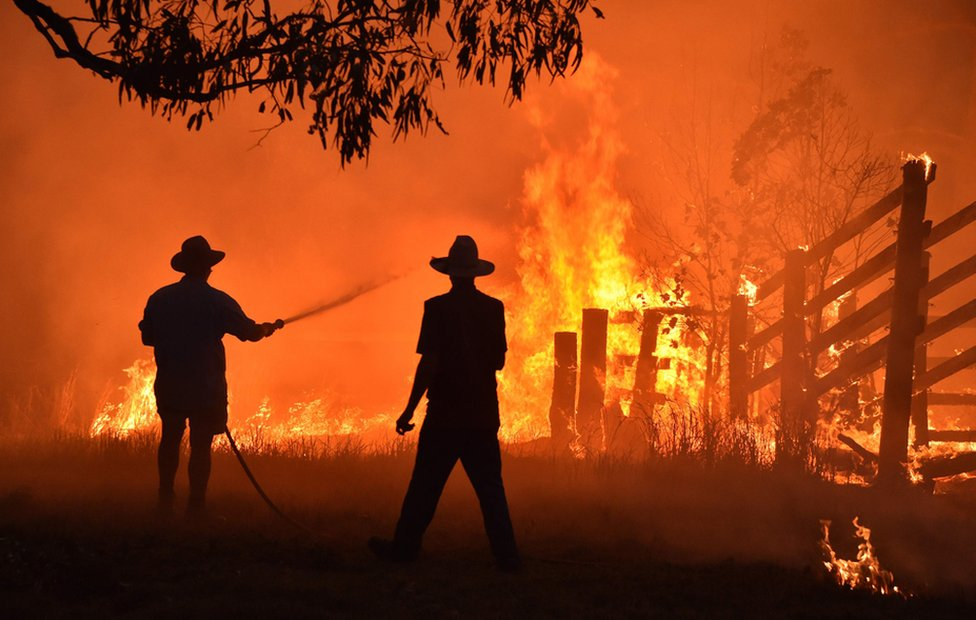 Residents, silhouetted against the flames, battle a bushfire in Australia.