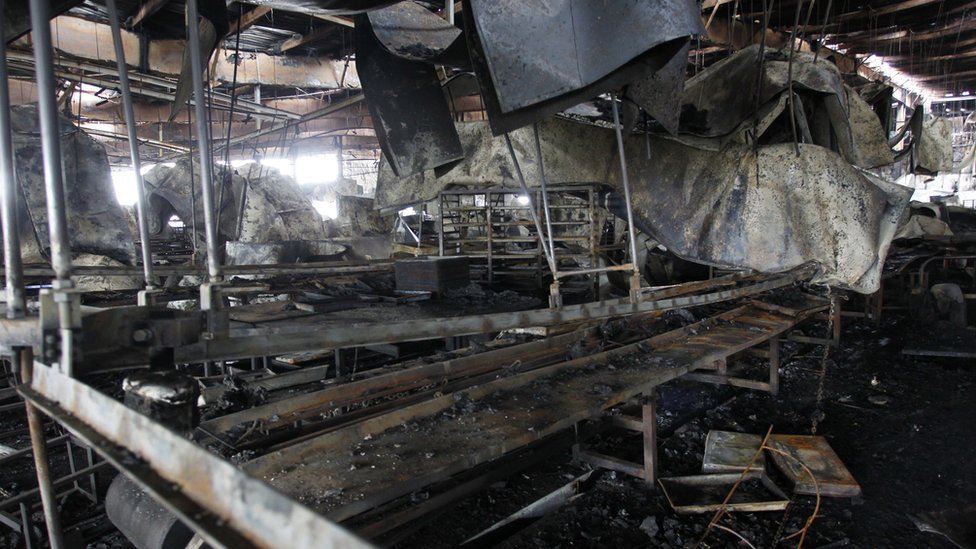 The charred remains of the inside of the poultry plant