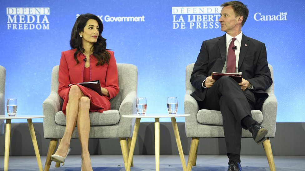Human rights lawyer Amal Clooney and Foreign Secretary Jeremy Hunt have criticised Donald Trump's rhetoric against journalists