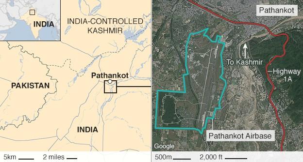 Map showing the Pathankot air base