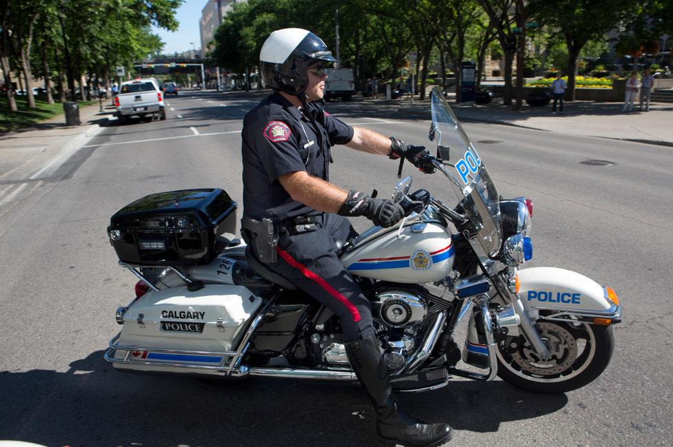 Canadian policeman on a bike