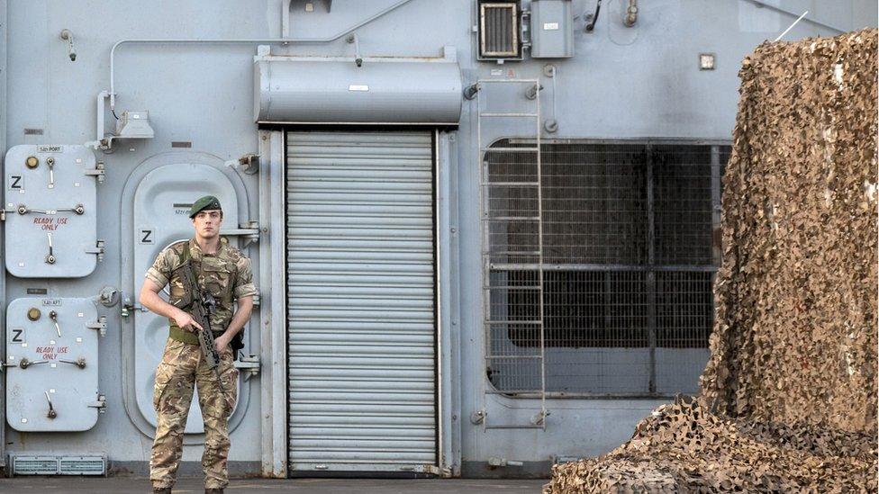 Royal Navy member on HMS Bulwark in Haifa, Israel in 2016