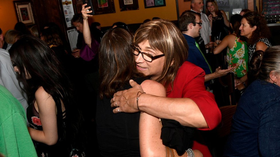 Vermont Democratic Party gubernatorial primary candidate Christine Hallquist, a transgender woman, attends her election night party