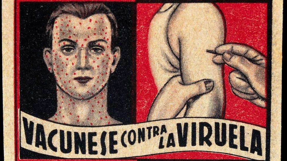 cartel de campaña pro vacunación contra la viruela