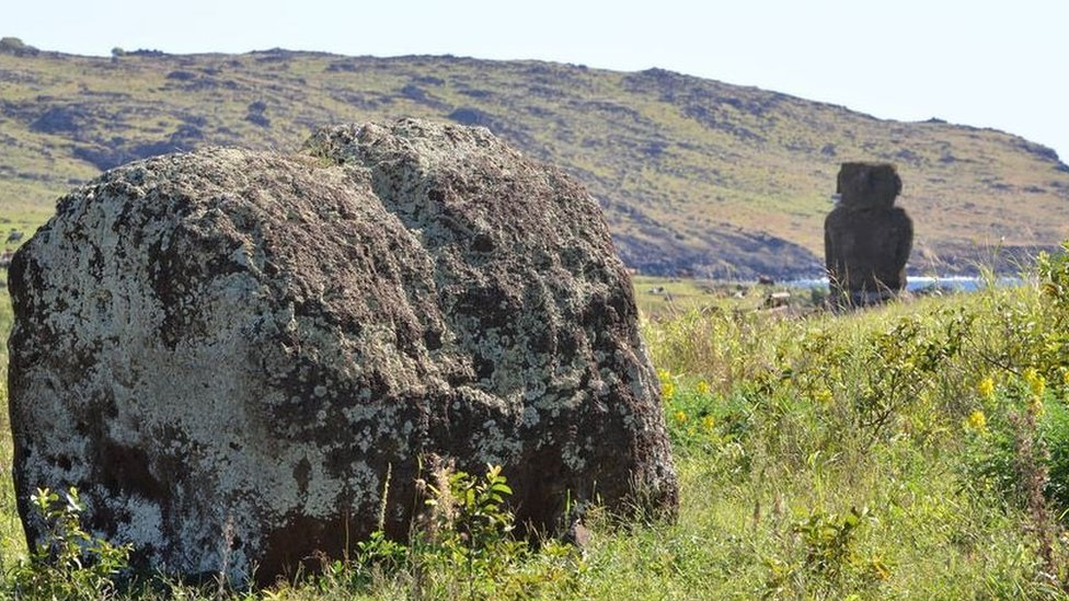 A stranded pukao hat near a coastal Moai