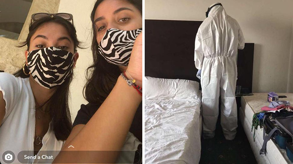 Snapchat and cleaner in a hazmat suit