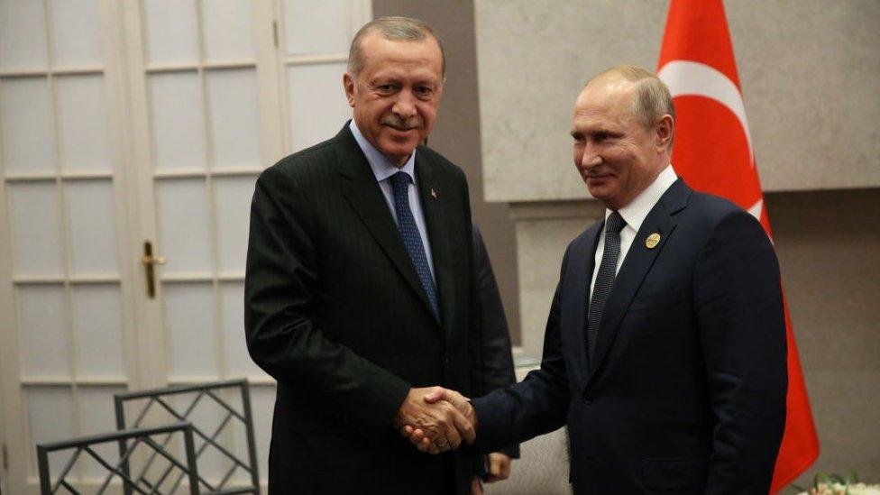Russian President Vladimir Putin (R) greets Turkish President Recep Tayyip Erdogan (L)