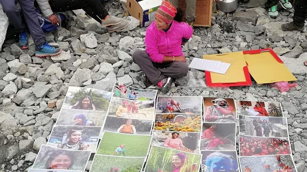 Climber and photojournalist displays her works at Everest base camp