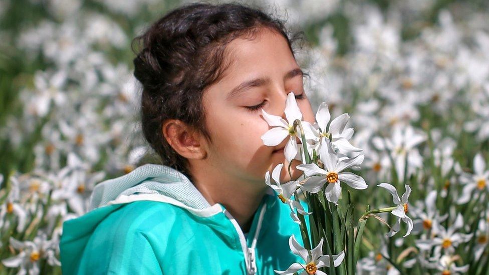 Menina cheirando flores