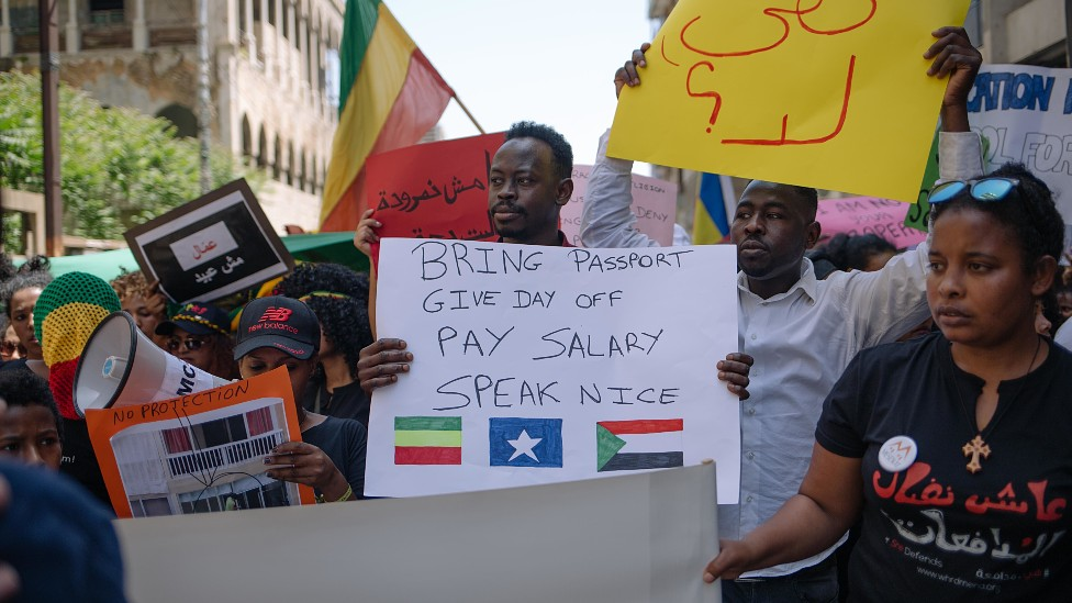 Protesta de trabajadores migrantes en Líbano en 2019