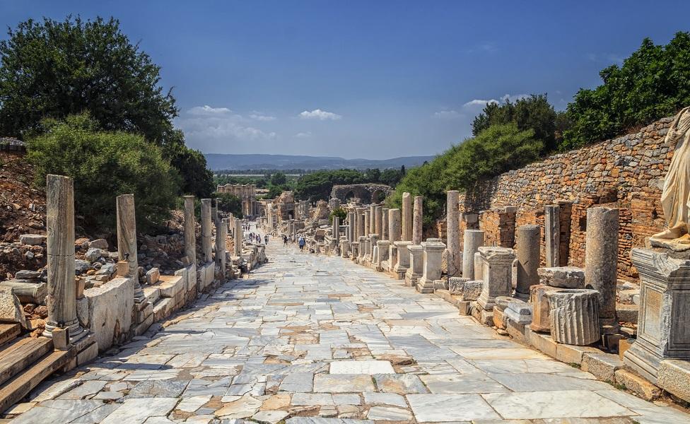 Un antiguo camino romano en Éfeso, Turquía