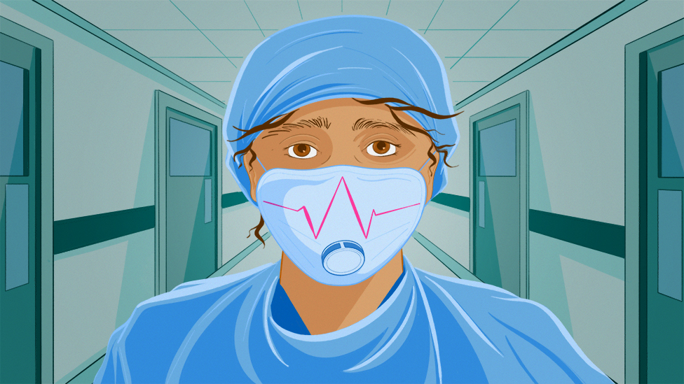 Illustrated image of a doctor in a mask