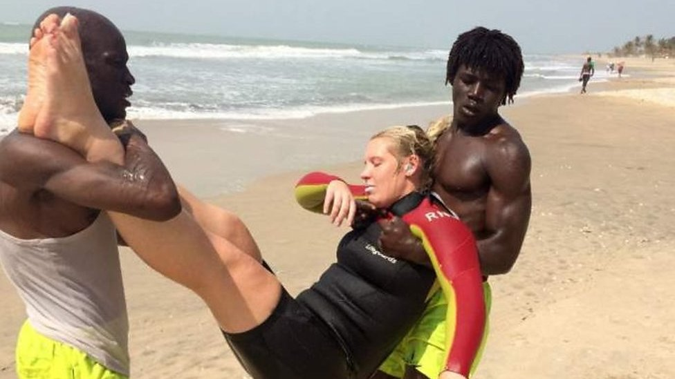 Beach lifeguards train volunteer lifesavers in The Gambia