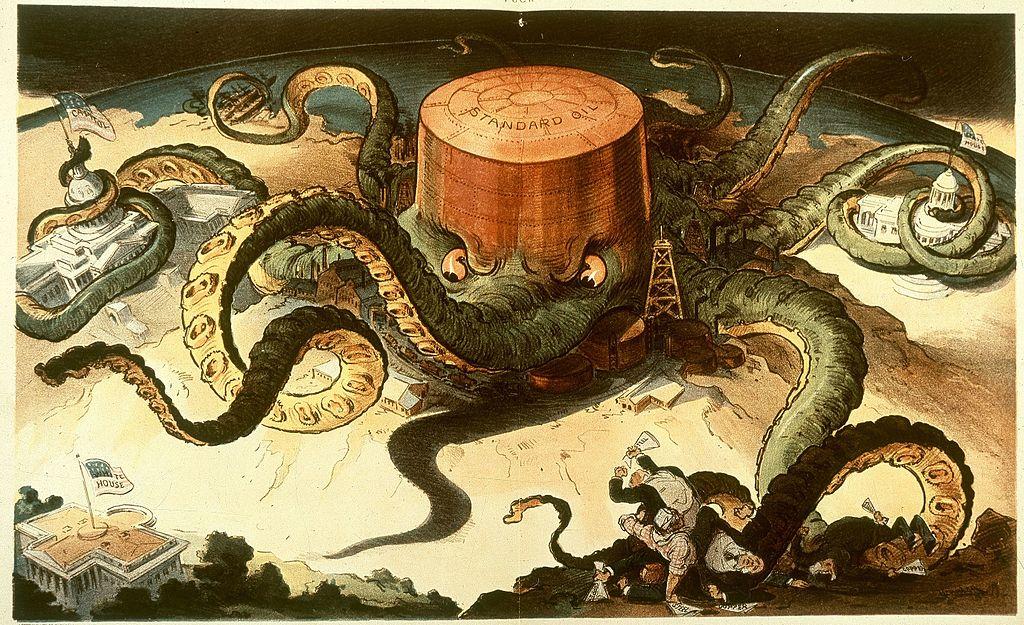 Caricatura política que muestra un tanque de Standard Oil como un pulpo con tentáculos envueltos alrededor de las industrias del acero, el cobre y el transporte marítimo, así como una casa estatal, el Capitolio de EE.UU. y la Casa Blanca.