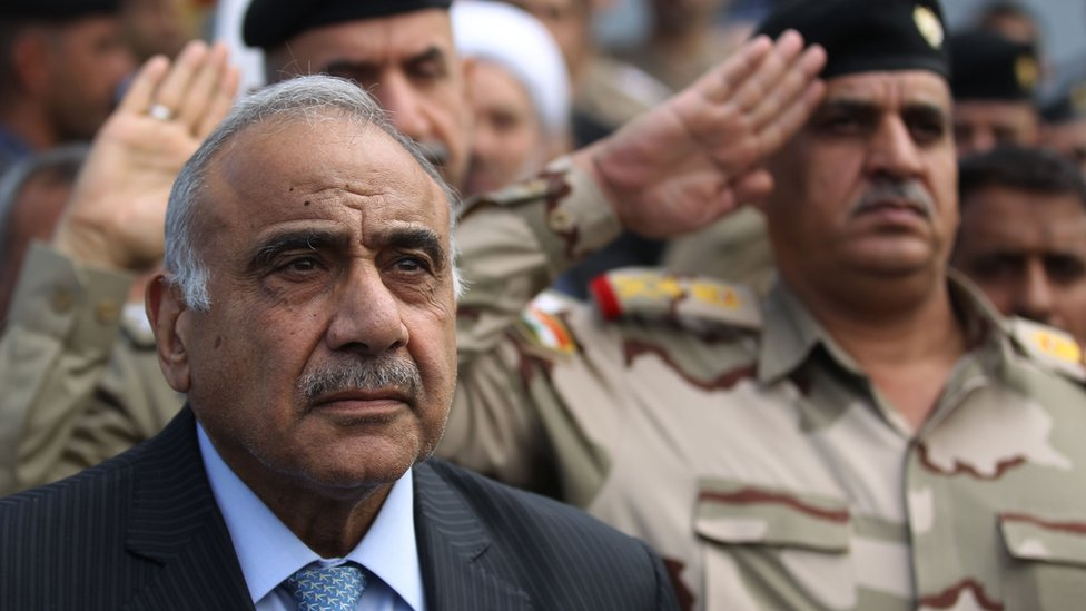 Iraqi Prime Minister Adel Abdul Mahdi at a funeral ceremony in Baghdad (23 October 2019)