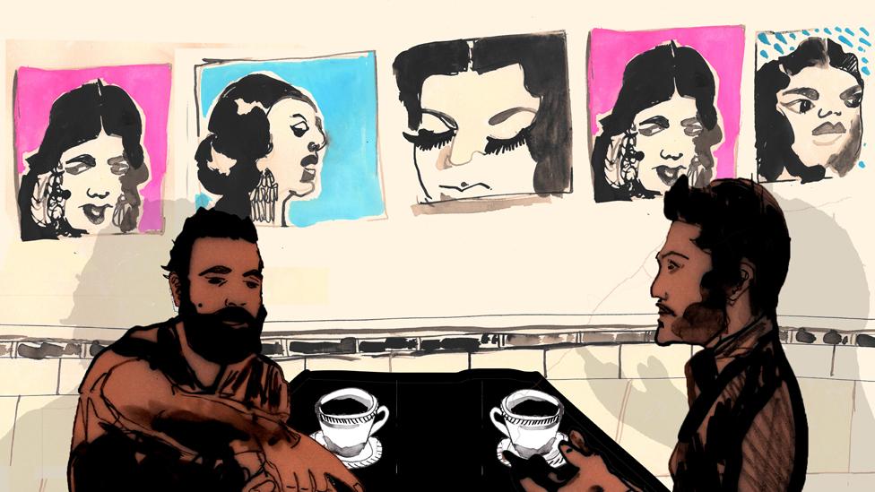 Ilustración de hombres en un café de Bagdad.