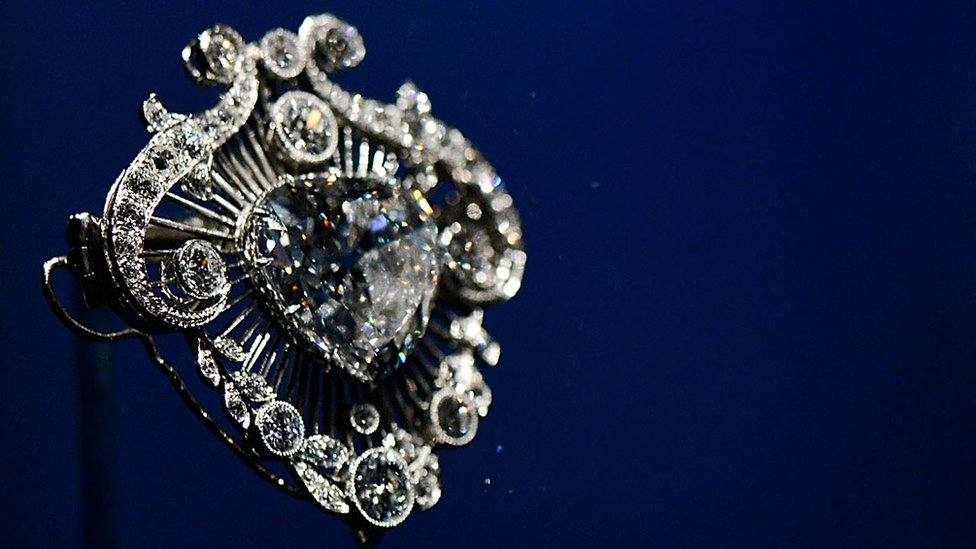 The Cullinan V brooch on display in the Diamonds: A Jubilee Celebration exhibition which forms part of the summer opening of Buckingham Palace on June 28, 2012 in London, England.